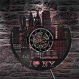 Reloj de Pared silencioso Moderno con Paisaje Urbano de Nueva York, decoración de Pared, Reloj de Pared con Registro de Vinilo del Horizonte de Nueva York, Reloj de Regalo de Viaje único