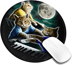 Alongwz Round Mouse Pad Three Keyboard Cat Moon Gaming Circle Mouse Mat Non-Slip Rubber Base Mousepad for Laptop/Computer,2 PCS
