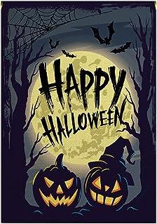ASKLKD Halloween Garden Drapeau, Trick ou Treat Yard Bienvenue Signe Double Face Impression Design Décorations de Jardin 3...