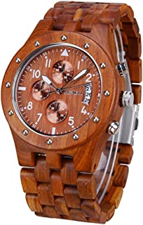 Bewell Mens Wooden Watch Analog Quartz Watch with Date Display and Luminous Wrist Watch W109D
