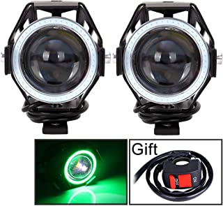 Motorcycle Headlight Cree U7 LED Fog Lights Spotlight Daytime Running Lights with Green Angel Eyes Halo Ring and ON/OFF Toggle Switch 2-sets