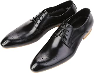 DeliverSmile Mens Genuine Leather Lace-up Point-Toe Leather Lining Dress Shoes