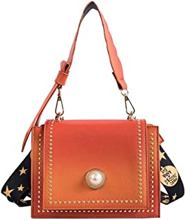 Stylish and Durable Vintage Casual PU Leather Backpack 16x20x14.5cm (Color : Orange, Size : 16x20x14.5cm)