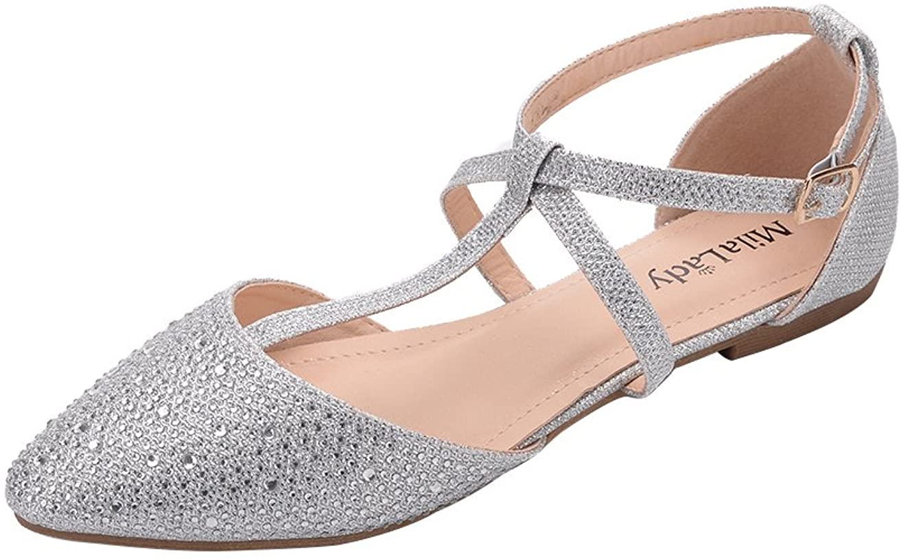 Mila Lady Louisville-Jefferson County Mall Laurel El Paso Mall Womens Pointed Strap Toe Ankle T-Strap D'Orsay
