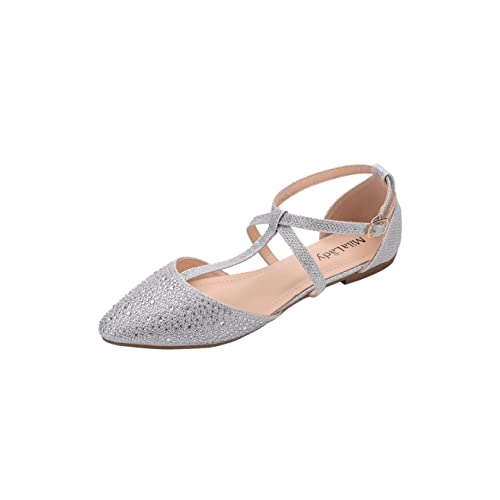 e075f77d3653 Mila Lady Mavis Fashion New Sparkling Embellish Glitter Slip Loafer Pointed Flat  Shoes