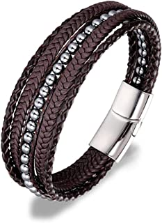 Irisvito Men's Genuine Leather Bracelet, Brown Black Braided Bracelet with Natural Stone Bead Magnetic-Clasp Leather Bracelet for Men