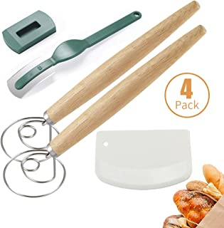 Danish Dough Whisk,BOBORA 13 inch Stainless Steel Dutch Style Dough Mixer with Plastic Dough Scraper,Bread Trimming Blade Long Wooden Hand Kitchenware Bread Whisk, Baking Tool for Bread Pizza