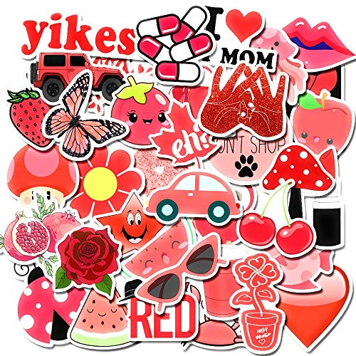 MSOLE 50PCS Cute Waterproof Vsco Stickers for Water Bottles Laptop HydroFlasks Aesthetic Trendy Decal Stickers for Mac Computer Phone Guitar for Kids Teens Girls (Red)