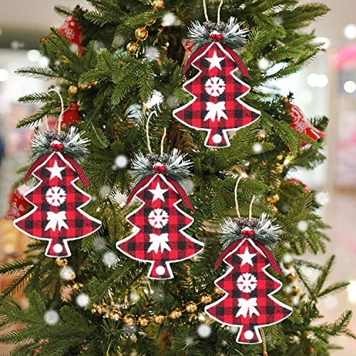 Rustic Christmas Tree Ornaments Plaid Christmas Ball Decorations Burlap Country Tartan Hanging Baubles Bell Old Fashioned Trendy Red for Holiday New Year Party Decor 6pcs