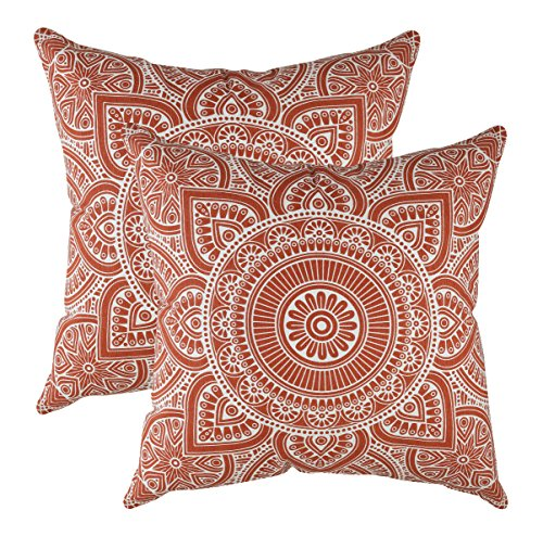 TreeWool, Pack of 2, Throw Pillow Cover Mandala Accent 100% Cotton Decorative Square Cushion Cases (18 x 18 Inches / 45 x 45 cm; Rust in Off-White Background)