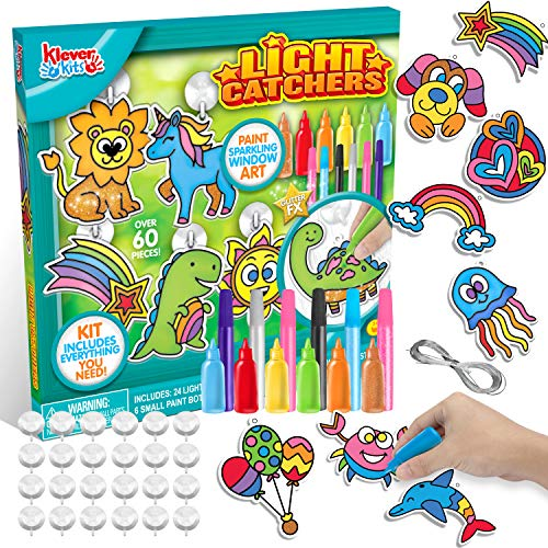 24PCS DIY Window Sun Catchers DIY Window Paint Art and Craft Kit, Light Catcher Kids Art Project Set