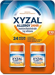 Xyzal Allergy Pills, 24-Hour Allergy Relief, Original Prescription Strength,55 Count (Pack of 2)