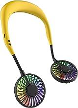 Draagbare mini-ventilator, handsfree, mini-ventilator, USB, oplaadbaar, nekbandventilator met dubbele windkop (geel)
