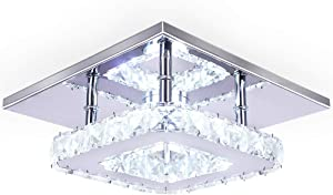 Dixun Modern Crystal Chandelier 7.9 Inches Led Ceiling Light Mini Square Flush Mount Ceiling Light for Bedrooms Dinning Rooms Hallway(Cool White,15W)