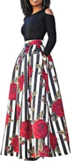 Floral Maxi Skirt Set - Classic Two Piece Dresses African Print Skirt + Long Sleeve Cold Shoulder Top S-4X