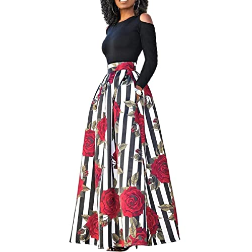 d413cdc5a1 Two Pieces Dresses for Women Floral African Maxi Skirt with Pockets Off  Shoulder Top Blouse S