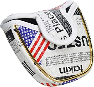 COVVY Mallet Putter Cover, US Flag Waterproof PU Leather Magnetic Closure Protective Semi-Circular Golf Club Headcover - Compatible with Scotty Cameron Odyssey, Fit Most Mallet Putters