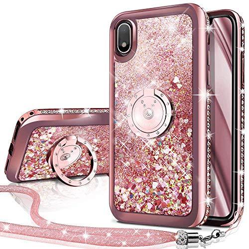 Miss Arts Funda Galaxy A20E,[Silverback] Carcasa Brillante Purpurina con Soporte, Transparente Cristal Telefono Fundas Case Cover para Samsung Galaxy A20E -Rose Oro
