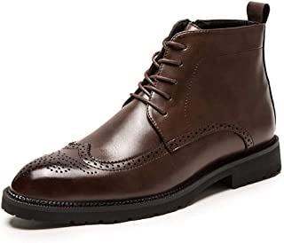 Sumuzhe Men's shoes Ankle Brogue Boots for Men High Top Dress Oxfords Lace up PU Leather Round Toe Anti-skid Burnished Style Wear Resisting Side Zipper (Color : Brown, Size : 43 EU)