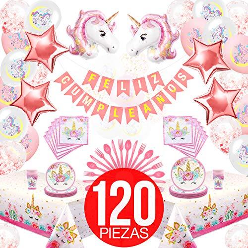 Cumpleaños Unicornio Niña - El mejor kit cumpleaños de unicornios para niñas. Incluye Pancarta Feliz cumpleaños en Castellano, globos de cumpleaños, platos y vasos para cumpleaños y mucho más!