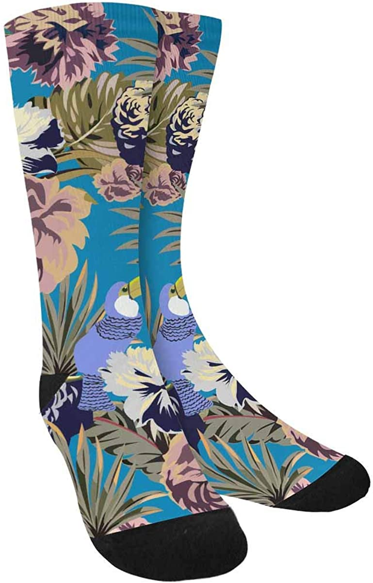 INTERESTPRINT Beautiful Vintage Tropical Exotic Flowers, Palm Leaves Sublimated Polyester Casual Crew Socks