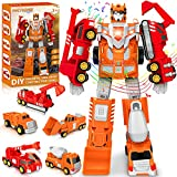 Kids Toys for Boys Transform Toy: Construction Robot Car Toys for 3 4 5 6 7 8 Year Old Boys   STEM Building Toys for Boys Age 4-7   5 in 1 Toddler Toy Trucks Christmas Kids Gift Girl Boy Toys Age 4-8