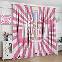 zojihouse Susan Female Name with Grunge Effect Birthday Girl Celebration Striped Backdrop Blackout Curtains Pale Pink and White Modern Blackout Draperies for Bedroom W72xL63