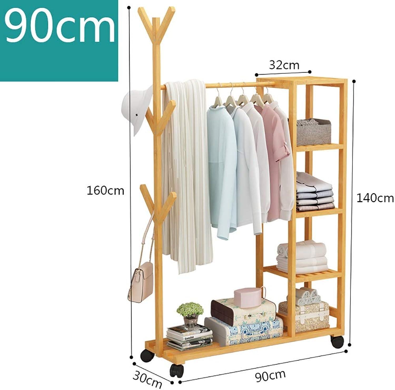 Standing Coat Racks Rolling Coat Rack Bamboo Garment Rack Coat Clothes Hanging Rail 6 Hooks for shoes and Hat Rack (90cm, 100cm ) x 30 x 160 cm Two Sizes Optional (Size   90  30  160cm)