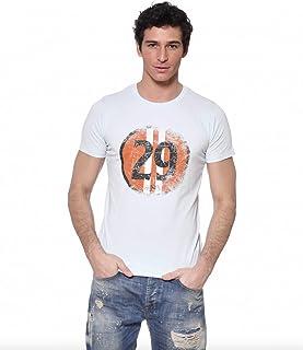 Maglietta da uomo Von Dutch con collo rotondo, blu/bianco