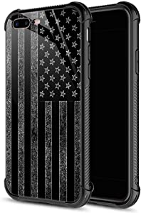 iPhone SE 2020 Case, iPhone 8 Case Black and White American Flag iPhone 7 Cases, Tempered Glass Back+Soft Silicone TPU Shock Protective Case for Apple iPhone 7/8/SE2