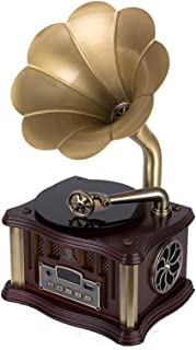 Mini Retro Gramophone Bluetooth 4.2 Double Track USB Player FM Radio Remote Control Two HiFi Speakers Phonograph (Color : ...