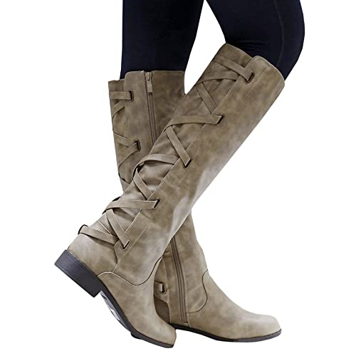 5eb4920b9e82 Meilidress Women Boots Winter Tall Riding Leather Strappy Flat