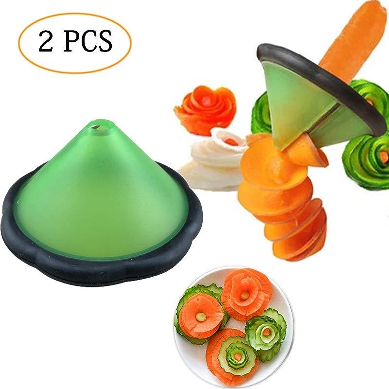 2 PCS Creative Slicers For Fruits Vegetables Salad Cut To Flower Shape Carrot Cucumber Melon Peeler And Sharpener Mold Peel Shredder Stainless Steel Blade Spiral Cutter
