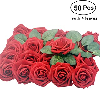 Lmeison Dark Red Artificial Flower Rose, 50pcs Christmas Tree Decorative Real Looking Artificial Roses w/Stem for Bridal Wedding Bouquets Centerpieces Baby Shower DIY Party Home Décor, 4 Leaves