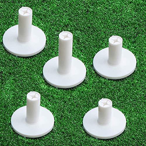 FINGER TEN Golf Rubber Tee Driving Range Value 5 Pack for Indoor Outdoor Practice Mat, Tee Adaptor Size 1.5'' 2.0''White Black Tee Holder Set for Hitting Mats(White 5 Pack All 2.0'')
