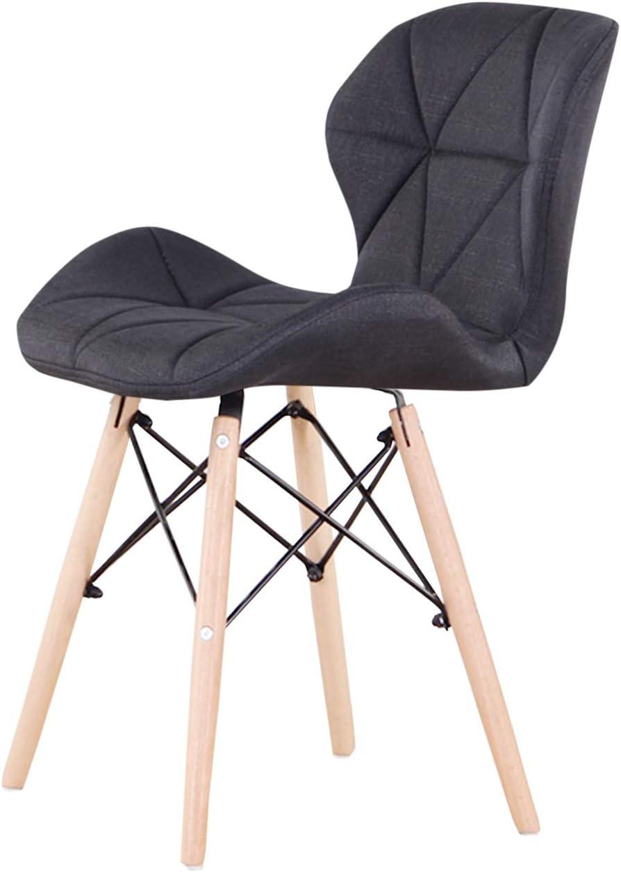 Luckeu Lot de 4 fauteuils de salle à manger rembourrés vintage en tissu de lin pour salon, chambre à coucher, cuisine, pieds en bois massif et croix en métal Noir