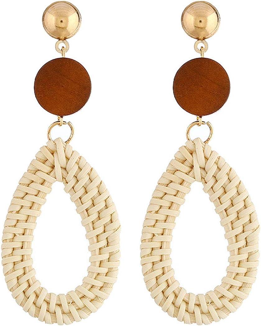 Women's Teardrop Rattan Stud Hoop Earrings for Women Girl Statement Jewelry Handmade Woven Lightweight Straw Wicker Braid Ethnic Geometric Oval Wooden Bead Dangle Drop Pierced Ears