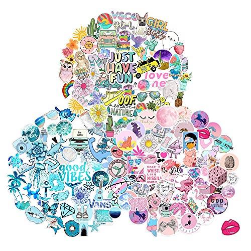 153 pcs Cute Vsco Aesthetic Stickers-Vinyl Aesthetic Cute Waterproof Stickers for Laptops Hydro Flasks Water Bottle Book Bicycle, Suitable for Kids, Girls, Teens, Women