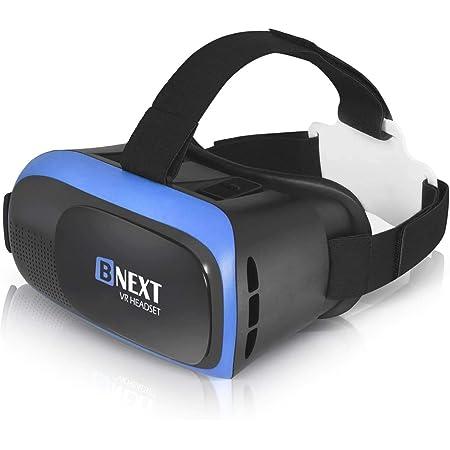 VR-Brille, Virtual Reality-Brille kompatibel mit iPhone & Android [3D Brille] - Erleben Sie Spiele und 360 Grad Filme in 3D mit weicher & komfortabler VR-Brille | Blau | mit Augenschutz