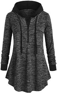 Women Long Hoodies Jumper Casual Sweatshirt Oversized Pullovers Long Sleeve Dress 1/2 Zip Loose Long Hooded Tops Winter Ho...