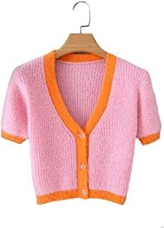 LJLLINGA Spring Korean Sweater Women Vintage Pink Cardigan Knitted Cute Sweater Punk Crop Sweater Knit Cardigans Cute Purple