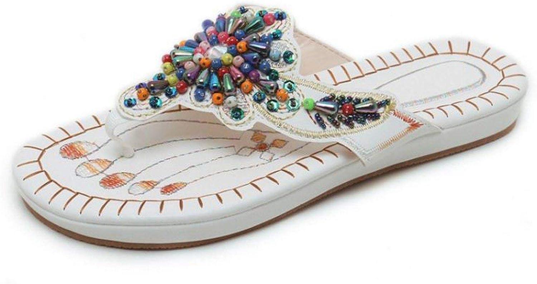 Houfeoans Size 35-45 Women Sandals Clip Toe Platform String Beads Women Summer shoes Classic Fashion Female Beach Footwear