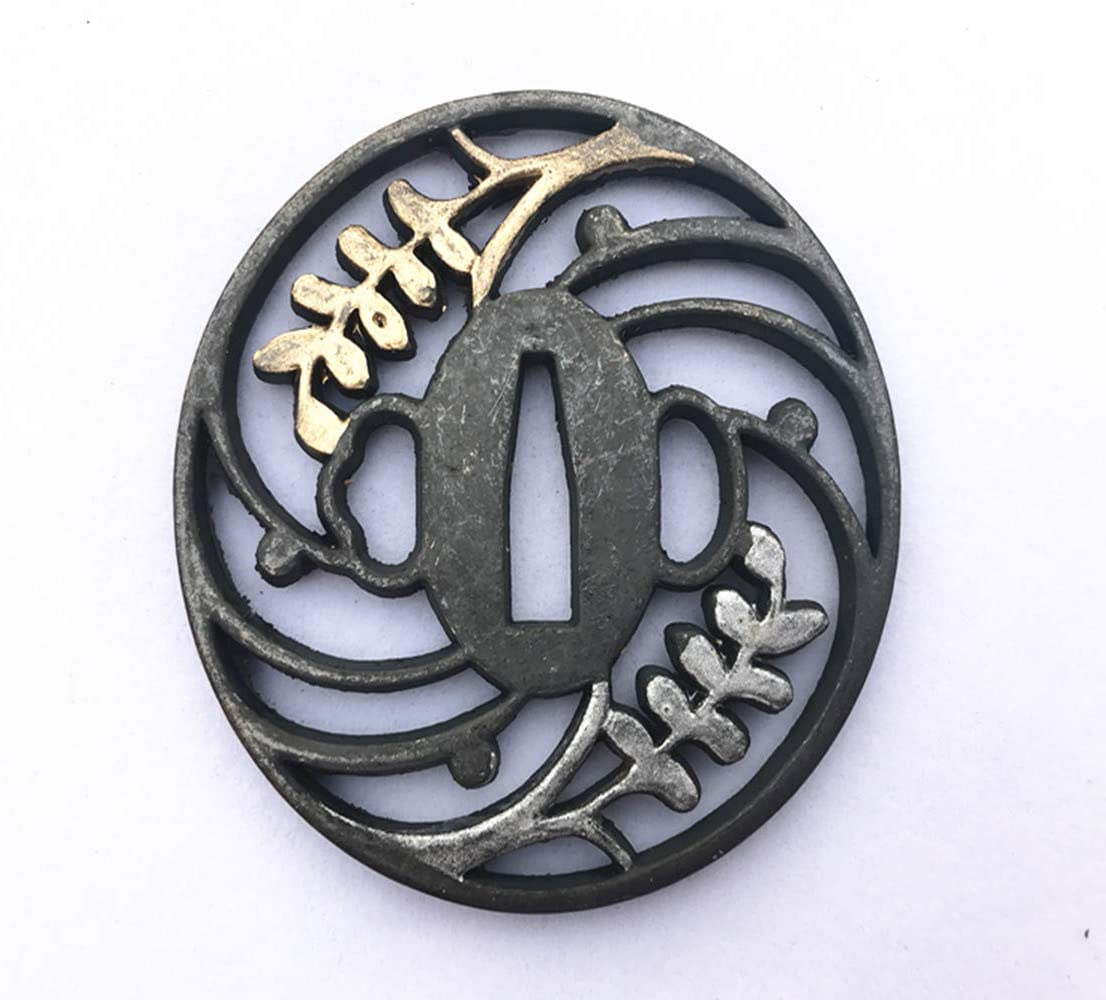 Gold-Plated Alloy Tsuba Hand Guard W for Free shipping / New Japanese Samurai Great interest Swords