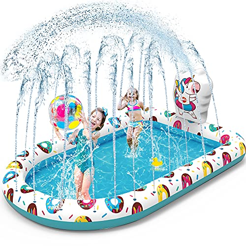 VATOS Piscina Sprinkler per Bambini Gonfiabile Spruzzi Piscina 3 in 1 Acqua Giocattoli Spray Estate Divertimento 65 'x 43' Sprinkler Splash Pool Pad per Bambini Piccoli 3 4 5+ Ragazzi Ragazze