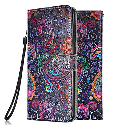 Leather Wallet Phone Case for Samsung Galaxy A21S Flip Cover with Pattern Design Card Holder Slot Silicone Protective for Girls Boys - Colorful lace