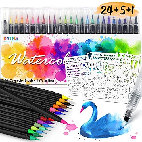DYFFLE Aquarellstifte - 24 +1 Brush Pens + 5 Schablonen, Pinselstifte Set für Bullet Journal, Handlettering Stifte Set, Lettering Stift, Manga Stifte Set, Kalligraphie Stift, Geschenke für Mädchen