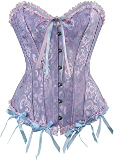 47e49140e0e frawirshau Women s Lace Up Boned Overbust Corset Bustier Bodyshaper Top