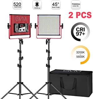 GVM LED Video Lighting Kit with Stand CRI97+/TLCI 97+ 18500 lux 3200-5600K Bi-Color Video Lights LED Panel for Studio Video YouTube Photography Interview Portrait Photo Camera Light (2-Pack)