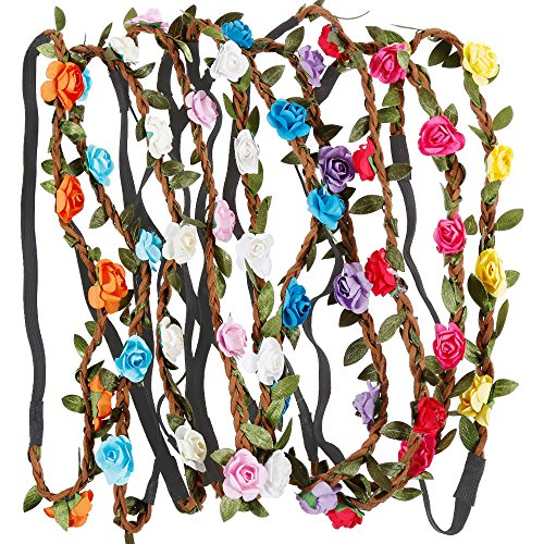 Rovtop 12 Pcs Colorful Rose Flower Headband, Wreath Floral Headbands with Elastic Ribbon for Women Girls Hair Accessories, M, Multicoloured