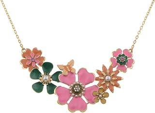 Alilang Mujeres tono Dorado falso Perla Floral rosa Multicolor esmalte Flor Bib Declaración Collar